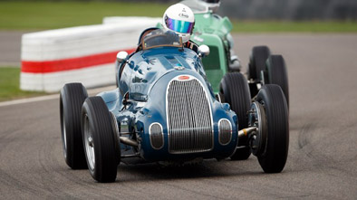 Tom Dark in the Bugatti T73C faded as the race wore on