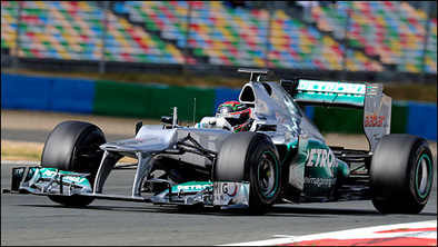Brendon Hartley testing the Mercedes in 2012